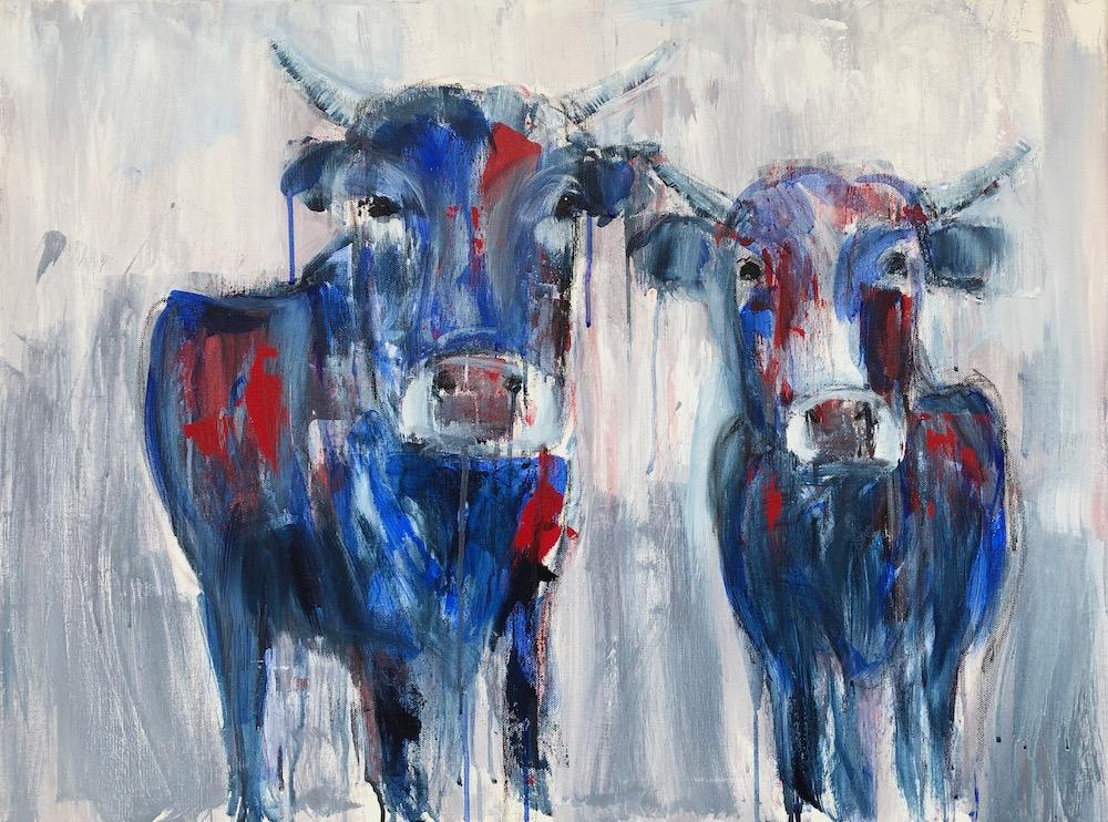 """Acrylbild von zwei Kühen, gemalt zu """"Catch and Release"""" von Matt Simons"""